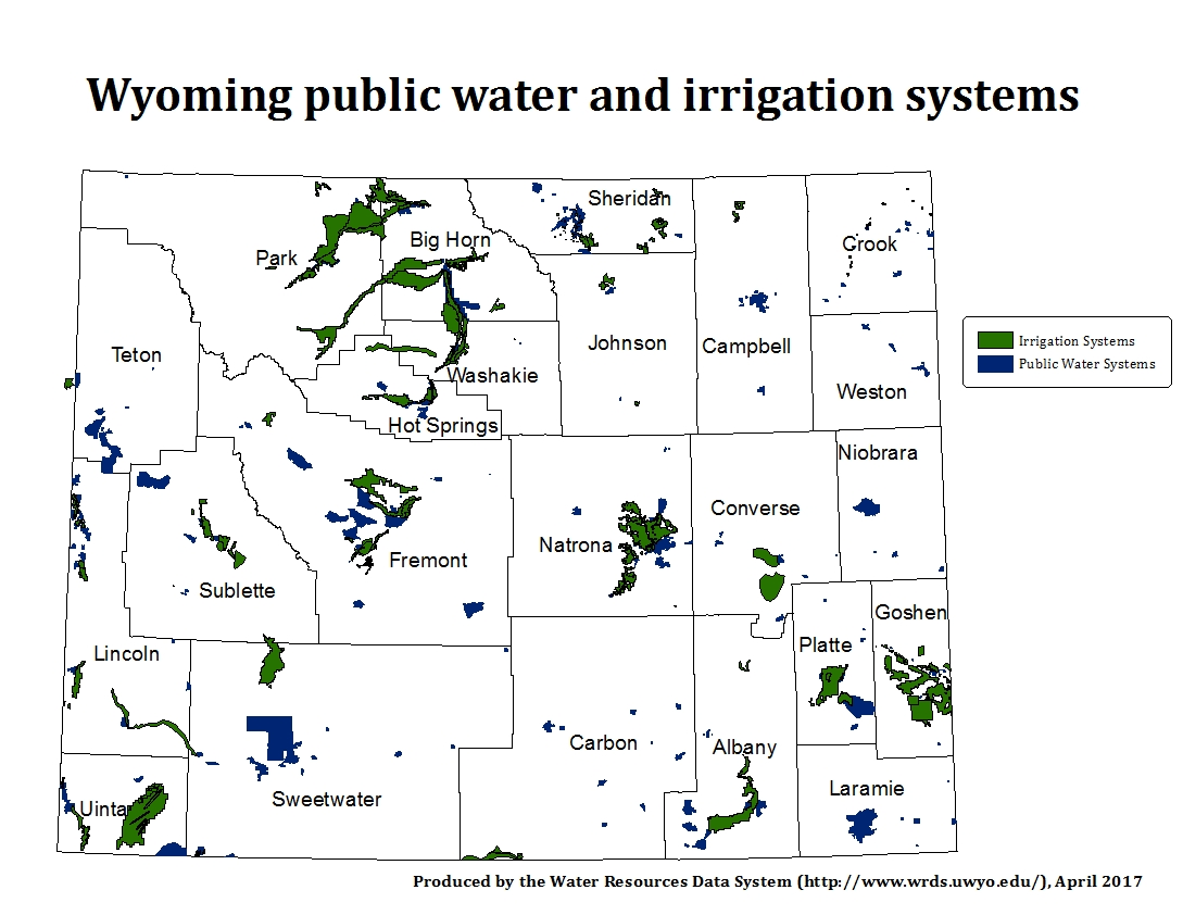 Wyoming Public Water and Irrigation Systems map